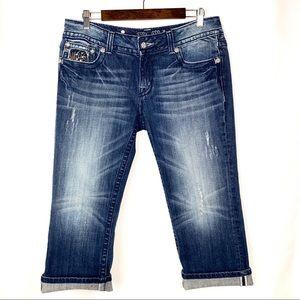 Miss Me Medium Wash Distressed Denim Capri Jeans